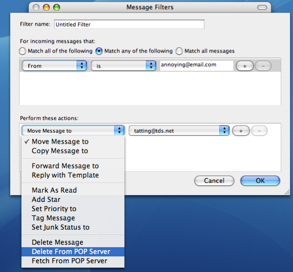 Blocking a sender in Mozilla Thunderbird